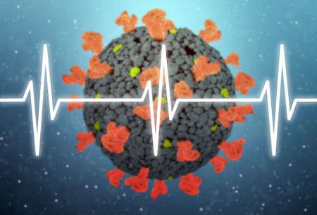 Concept of COVID-19 or 2019-ncov coronavirus with heart pulse