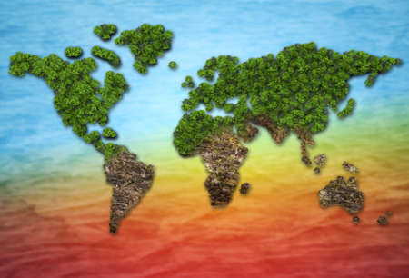 Forest in a shape of world - deforestation and global warming concept
