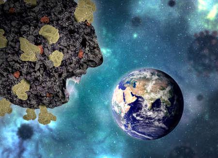 Coronavirus or COVID-19 attacking planet earth Standard-Bild