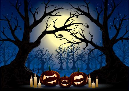 mortalidad: calabazas divertidas en una oscura noche de halloween
