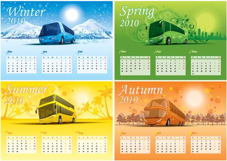 year january: four-season calendar 2010 Illustration