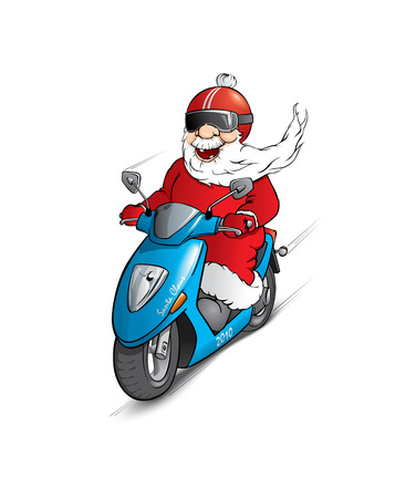 cristmas: Santa Claus on the scooter