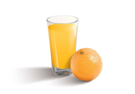 orange juice on the white background  Vector