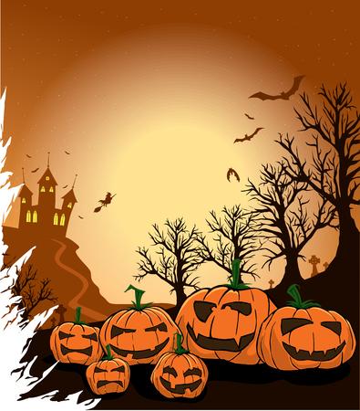 Spooky calabazas en una noche de halloween