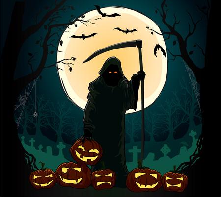 mortalidad: esp�ritu de la muerte de celebraci�n de la pumpking spooky Vectores
