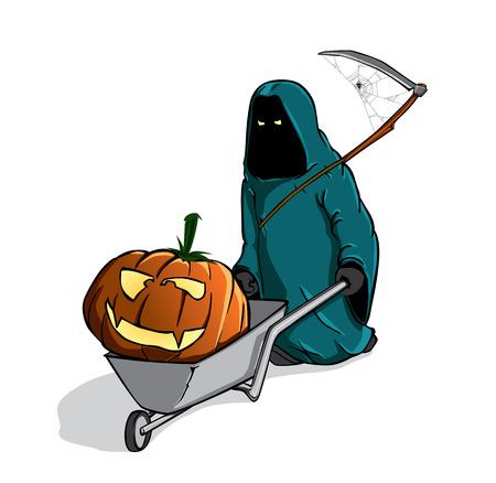 mortalidad: muerte con el pumpking en una carretilla spooky