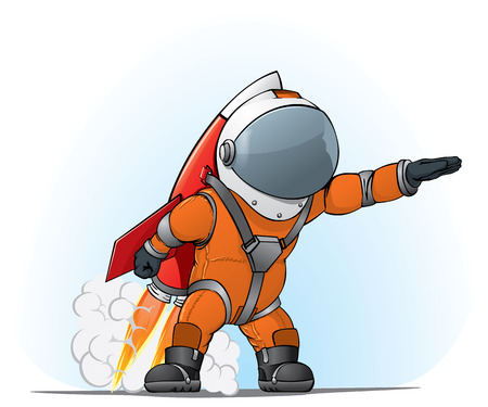 cartoon rocket: astronaut on the rocket Illustration