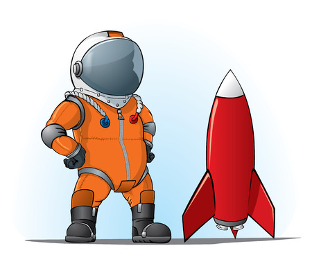 future space: astronaut whith a rocket Illustration