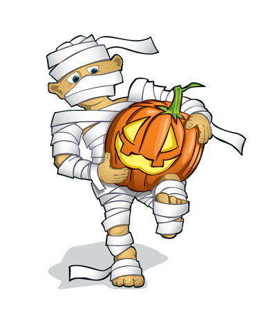 design costume: boy in a halloween costume with a pumpking