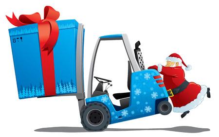 santa with a christmas loader Stock Vector - 8316253