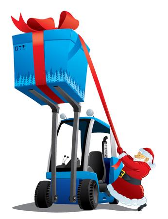 Santa with a christmas loader Vector