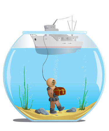 diver: diver in the aquarium with a treasure