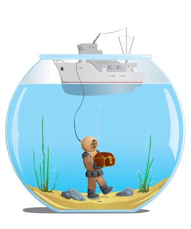 duiker in het aquarium met een schat