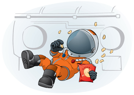 cartoon world: astronaut in the space ship
