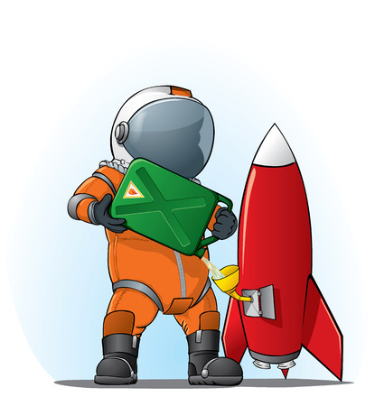 astronaut filling the rocket Stock Vector - 8316252
