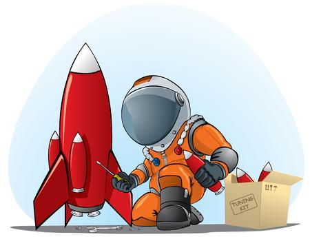 astronaut mending the rocket