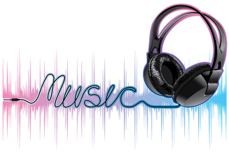 neon pulsing music headphones Stock Vector - 8316256