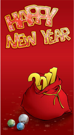 toy sack: Happy new year greeting card Illustration