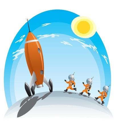 cartoon rocket: astronauts runing towards the rocket