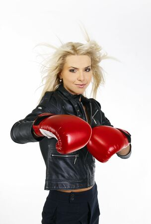 portrait of a beautiful boxing woman  photo