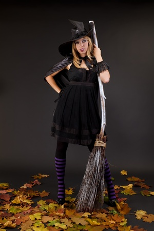 Halloween witch with a broom  photo