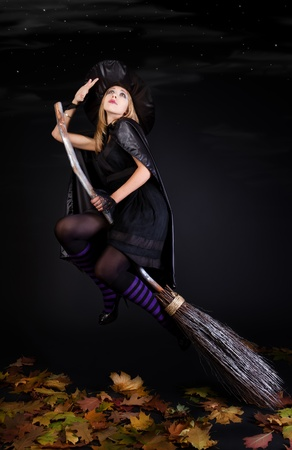 Halloween witch on a broom  photo