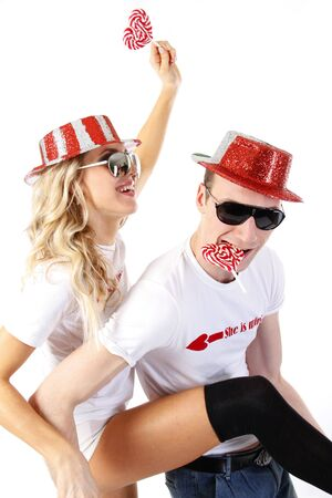 loto: happy couple partying  Stock Photo