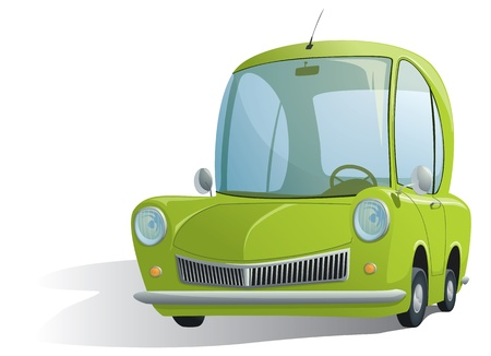 illustration of agreen retro car