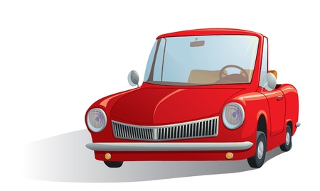 roadster: illustration of a red retro car