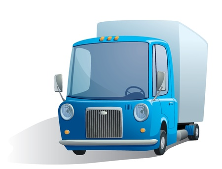 customized: illustration of a blue retro truck