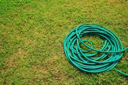 garden hose: Hose lawn green grass background garden outdoor