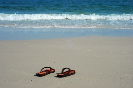 Shoes beach sea sand background thailand foot design relax photo