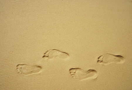 footprints in the sand: Sea sand sun beach for relax in holiday Thailand trail track spoor