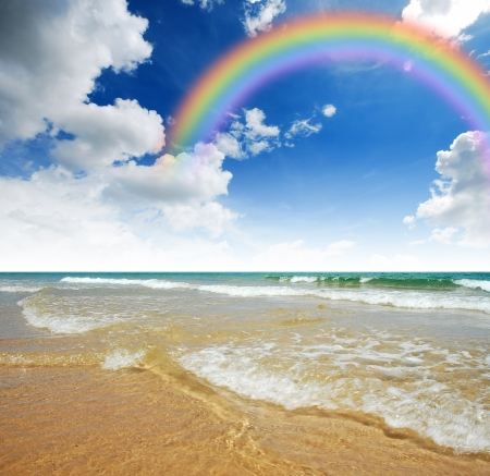 Sea sand sun beach for relax in holiday rainbow Thailand  photo