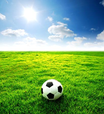 voetbalveld voetbalstadion op het groene gras blauwe lucht sport spel achtergrond voor ontwerp Stockfoto