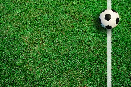 Fútbol campo de fútbol de hierba estadio línea de pelota fondo textura ligera sombra en el césped Foto de archivo