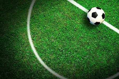Voetbal voetbalveld stadion gras lijn bal achtergrond textuur licht schaduw op het gras