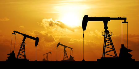 sun oil: Oil pump oil rig energy industrial machine for petroleum in the sunset background for design