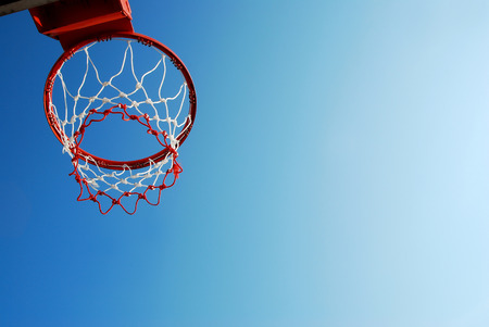 basketball net: basketball outdoor court sport game blue sky background design  Stock Photo