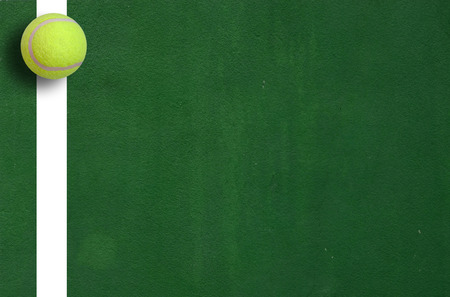 Tennis ball on court grass play game background sport for design