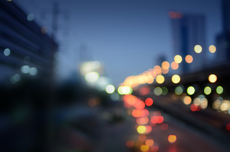 Bokeh light background in the city for background design