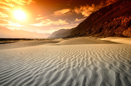 Sunset at desert with mountain landscape nature background