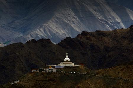 shanti: Top view Shanti Stupa near Leh, Ladakh, India