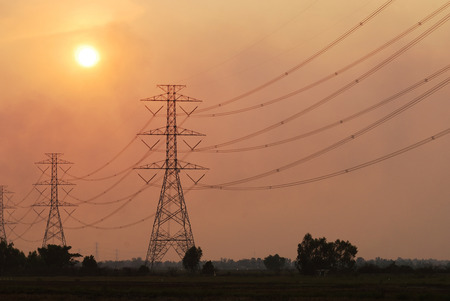 electrical tower: Electrical tower at sunset time Stock Photo