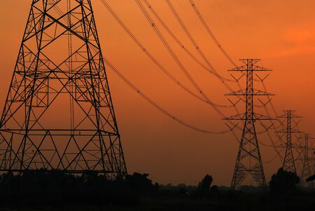 hydro electric: Electrical tower at sunset time Stock Photo