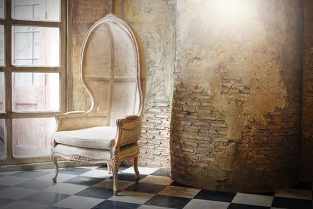 Vintage chair at vintage interior for vintage design