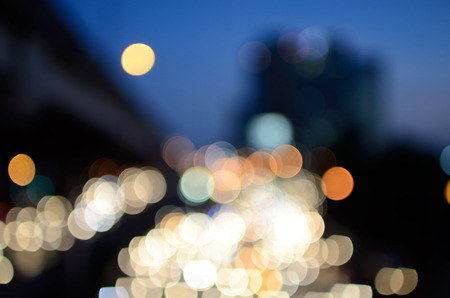 Bokeh stadsgezicht achtergrond met cirkel licht voor ontwerp