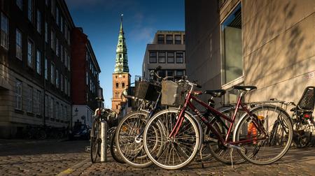 bikeway: Classical bike on the bikeway in copenhagen , denmark Editorial