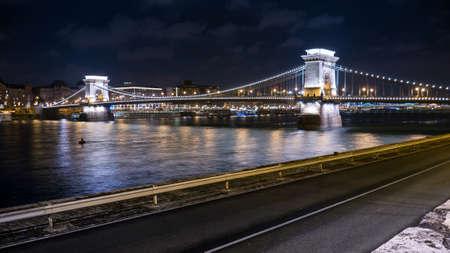 nightview: The Szechenyi Chain Bridge , danube river , budapest , Hungary