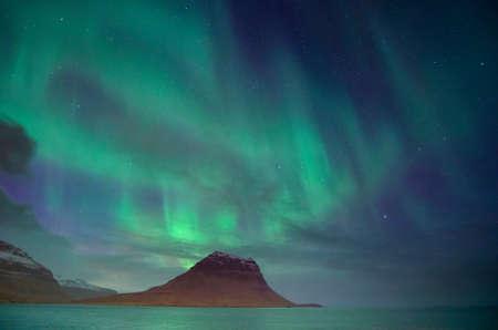 morphing: Aurora borealis at scandinavia , mt. kirkjufell, iceland